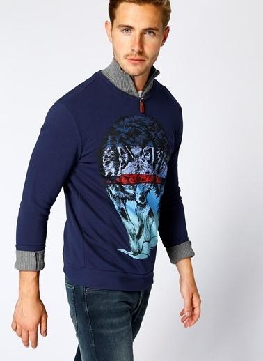 T-Box Baskılı Sweatshirt Lacivert